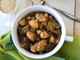 Roasted cauliflower and broccoli with quinoa spice powder