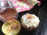 Funfetti cupcakes with paneer/cottage cheese frosting