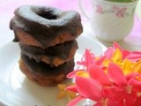 Old fashioned doughnuts with chocolate glaze