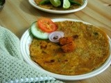 Yelllow pumpkin and coriander leaves paratha