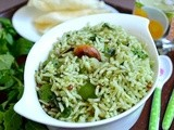 Mint Rice / Pudina Sadham / Mint Rice With Capsicum - Easy Lunch Box Recipe