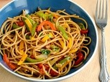 Stir Fried Spaghetti Recipe | Stir fried Pasta with Tri-colored Pepper