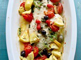 Baked Wild Alaskan Black Bass Recipe with Olives, Tomatoes, Capers