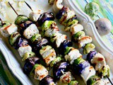 Grilled Chicken Kabob Recipe with Potatoes, Brussels Sprouts, Feta