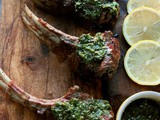 Grilled Lollipop Lamb Chops, Reverse Sear, Mint Pistou