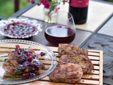 Grilled Rib Eye Pork Chops with Blueberry Peach Compote