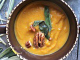 Roasted Butternut Squash Soup with Browned Butter Sage Leaves, Pecans