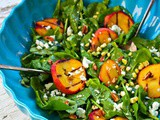 Spinach Salad with Grilled Peaches, Peach Vinaigrette