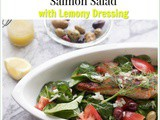 Super Spinach Greek Salad with Salmon and Lemony Dressing