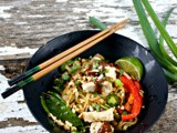Thai Peanut Noodles with Chicken Skewer Recipe