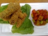 Couscous crusted mince meat finger's with green and red cherry tomato salsa