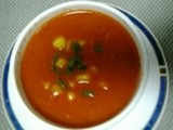 Grilled red pepper and corn kernels soup