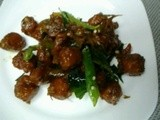 Meat ball tossed with green chili and curry leaves
