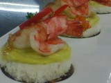 Prawns with avocado dip on coin bread