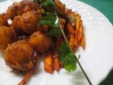 Spicy srir fried fish rice balls