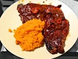 Delicious Home Made bbq Ribs and Sweet Potato Mash
