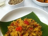 Green Lentils And Capsium Pulao/Pulav served with Egg Roast ,Raitha and Pappads