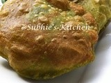 Palak Poori-Deep fried Spinach Flatbread