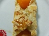 Apricot pastry dessert (french oreillette d'abricot)