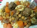 Meatball with Fried cauliflower and carrots tajine (Algerian cuisine)