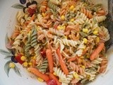 Pasta salad with tuna, carrots and corn