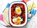 Spanish style Shakshuka with green chilli and chorizo