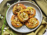 Three Cornered Leek Pesto Pinwheels