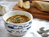 Garlic and Puy Lentil Soup with Smoked Paprika and Spicy Greens