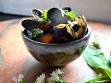 Mussels with Wild Garlic, Grape Tomatoes, and Guanciale