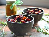 Pomegranate and Basil Marinated Beets with Preserved Kumquats and Pistachios