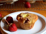 Roasted Strawberry Cheesecake Muffins