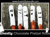 Halloween Ghostly Chocolate Pretzel Rods and Menu Plan Monday
