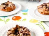 Banana & Walnut Baked Doughnuts with Fudge Glaze Icing