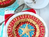 Brown Butter Captain America Shield m&m Chocolate Chip Cookie Cake