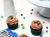 Chocolate m&m's Crispy Cupcakes with Chocolate Buttercream Frosting