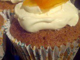 Carrot cupcakes and a honey whipped cream topping