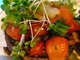 Portobello stuffed with pak choy and cherry tomatoes – Vegan