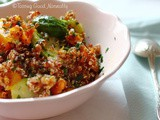 Quinoa with roasted butternut squash and Brussels sprouts #vegan