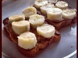 Raisin Bread With Bananas and Almond Butter
