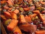 Roasted Brussels Sprouts and Sweet Potatoes with Cranberries