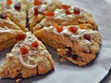 Eggless Apricot White Chocolate Scones