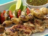 A Meal in One! South-of-the-Border Grilled Chicken, Pepper & Potato Kabobs with Honey-Cumin Glaze & Drizzle