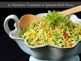 Happy Fourth! Israeli Couscous Salad w/ Heirloom Tomatoes & Spinach-Herb Pesto