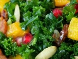 Massaged Kale Salad w/ Roasted Butternut Squash, Pomegranate, Pepitas & Warm Apple Cider-Bacon Dressing