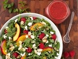 Raspberry Arugula Salad w/ Nectarines, Goat Cheese Toasted Almonds & Raspberry Honey  Jalapeño  Vinaigrette