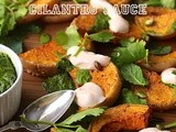 Roasted Squash with Chilli Yogurt and Cilantro Sauce