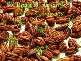 Sweet & Spicy Honey-Sriracha Roasted Pecans w/ Fresh Rosemary