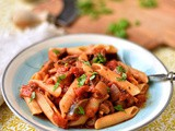 Aubergine, basil and tomato penne