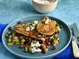 Aubergine fritters with pomegranate salad and labneh