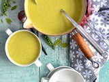 Broccoli, pea and mint soup